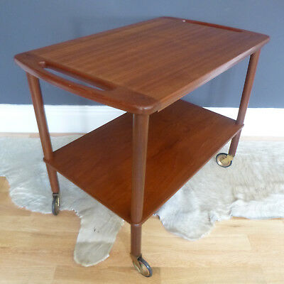 Danish Modern 2 Tier Teak TROLLEY Table Moller K Kristiansen era MCM 70s 60s