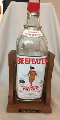 One Gallon Vintage Beefeater Dry Gin Bottle(empty)Wood/Metal Pouring Cradle