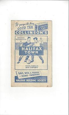 Halifax Town v Southport FA Cup Football Programme 1952/53
