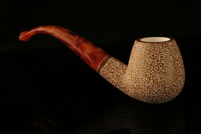Deluxe Rustic Hand Carved Block Meerschaum Pipe in a fitted CASE 7632