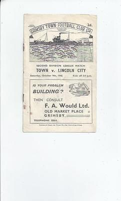 Grimsby Town v Lincoln City Football Programme 1948/49