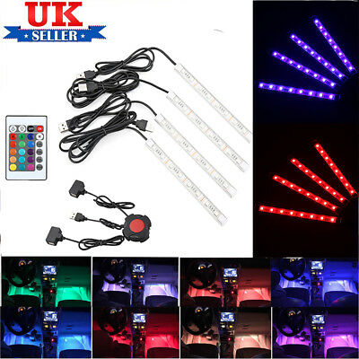 4 x32led 16colors rgb car interior atmosphere footwell floor strip light remote. Black Bedroom Furniture Sets. Home Design Ideas
