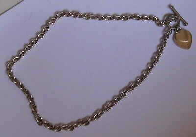 Vintage Fully Hallmarked Sterling Silver Chain Necklace With T - Bar & Hearts