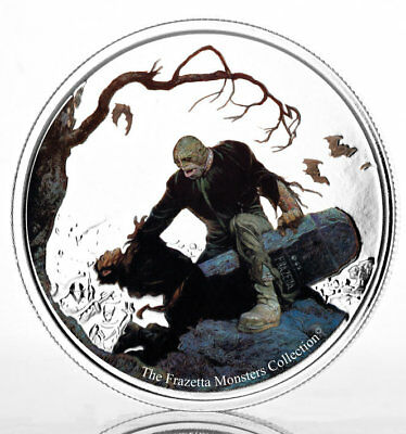 BEYOND THE GRAVE FRAZETTA MONSTERS 2017 1 oz Pure Silver Color Proof Coin GHANA