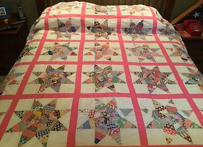 """Antique 1930s Star Quilt Top-Strip Pieced by Hand-Feedsack/Cotton Prints 72""""x86"""""""