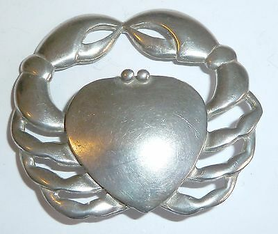 A Vintage Simon Carter Pewter Crab Brooch