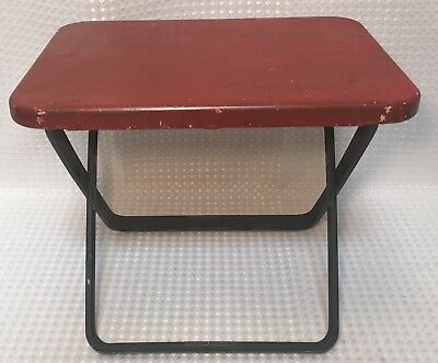Vintage Metal Stool Industrial Shabby Chic Rustic Fold Able & Portable 2 Pieces