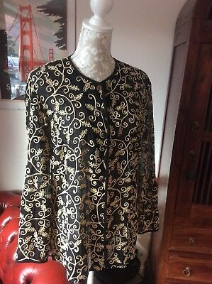 Jaeger Vintage Silk Embroidered Shirt/top/blouse/jacket Black 14