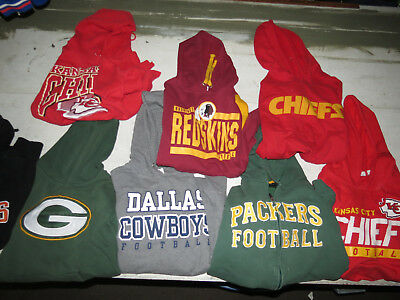 Lot Of 8 Nfl Hooded Sweatshirts Packers Cowboys Chiefs Redskins Adult Sizes