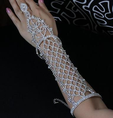 Long Slave Glove Clear Austrian Rhinestone Crystal Bracelet With Ring Bangle B88