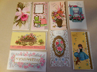 """#2  Vintage Lot of 8  """"1950s  Greeting Cards""""  Mixed Lot Unused w/envelopes"""