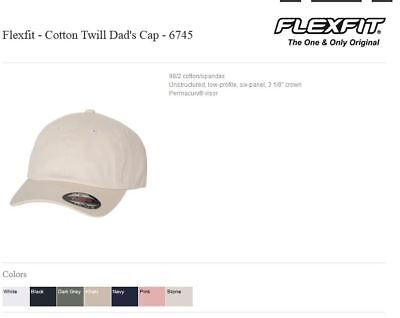 6f85f4a27 6745 FLEXFIT LOW Profile Unstructured Blank Cotton Twill Dad Hat ...