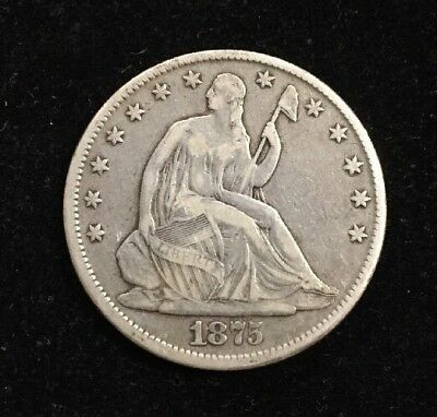 1875 50 Cent Seated Liberty Silver Half Dollar Collectible Coins