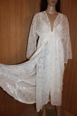 Gorgeous Ivory Sheer & Lace Nightdress & Sheer Negligee Set Size M
