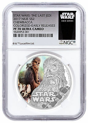 2017 Niue Star Wars: The Last Jedi Chewbacca 1 oz Silver NGC PF70 UC ER SKU49205