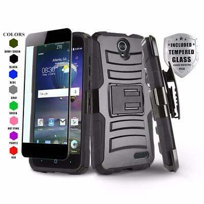 Refined Cover Phone Case & Holster For [Zte Zmax Champ] +Black Tempered Glass