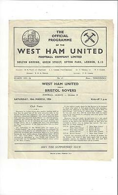 West Ham United v Bristol Rovers 1955/56 Football Programme