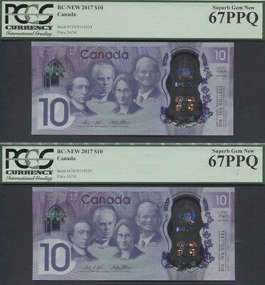 Tt Pk Bc-75 2017 Canada $10 150Th Anniversary Pcgs 67 Ppq Sequential Set Of Two