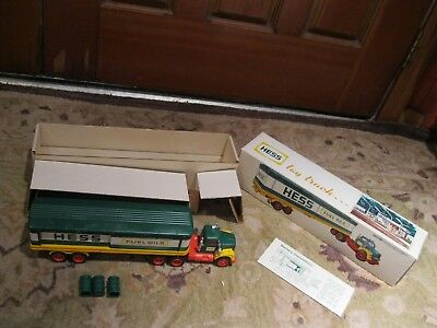 1975 Hess Freight Truck with 3 Barrels with Original Box