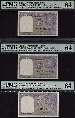 TT PK 75b 1957 INDIA 1 RUPEES SET OF THREE IN A ROW SPECIAL S/N 2042-44 PMG 64!