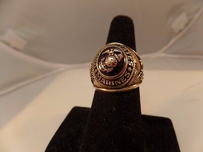 10K Yellow Gold United States Marine Corp Ring Size 7.50 Weighs 11.1 grams