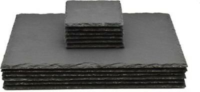 Set Of 8 Slate Square Coasters Coffee Table Place Mats Drinks Coaster Placemats