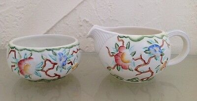 Vintage Chinese Rose Milk/Cream Jug & Sugar Bowl by H J Wood Ltd 1960's Exc Cond