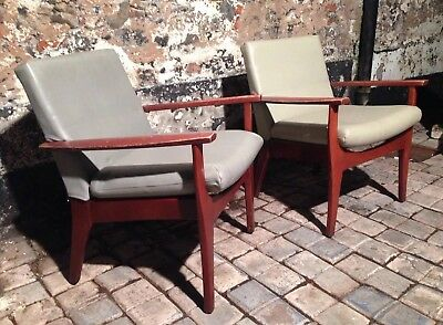2 X 60s DANISH LOUNGE CHAIRS EASY CHAIRS  Ercol G Plan Toothill Vintage teak