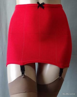 VINTAGE SCARLET RED ROLL-ON OPEN GIRDLE - 4 METAL SUSPENDERS~Sz Sm/Med NWOT    a
