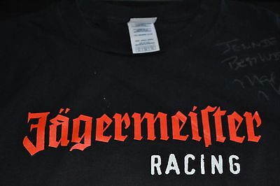 NHRA star Max Naylor signed Jagermeister T-shirt,  size large,  personalized.