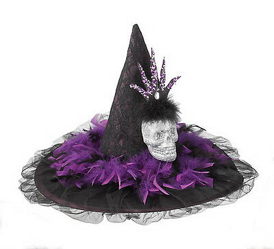 BLACK WITCH HAT w/ Skull Purple Fabric Accents Halloween Costume  Accessory NEW