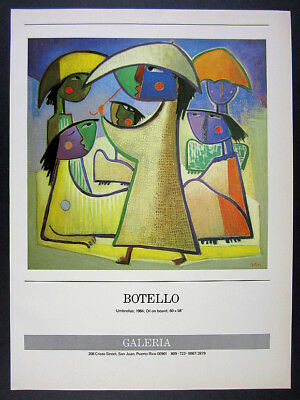 1985 Angel Botello Umbrellas painting San Juan gallery vintage print Ad