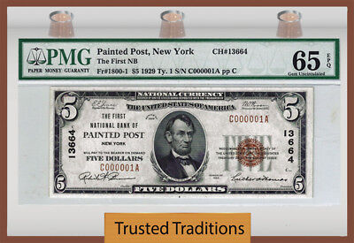 Tt Fr 1800-1 1929 $5 National Bank Note Painted Post, Ny Serial # 1 Pmg 65 Epq