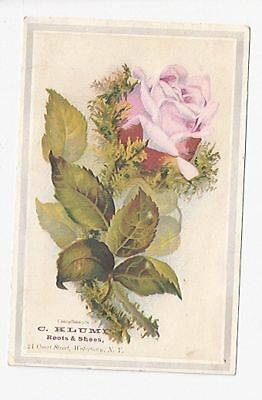 Old Trade Card C. Klump Boots & Shoes Watertown NY Rose