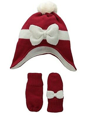 THE CHILDREN'S PLACE Girl's Mittens & Winter Hat Set RED Medium 2T-3T NEW