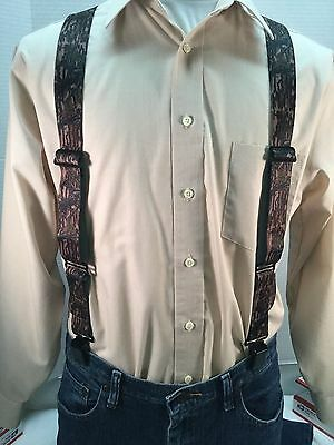 "New, Men's Treestand Camouflage, XL, 1.5"", Adj. Side Clip Suspenders, Made n USA"