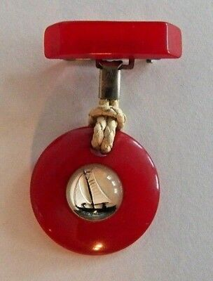 Fantastic Early Vintage~Red Bakelite W/ Bubble Framed Ship-Rope Brooch~Very Rare
