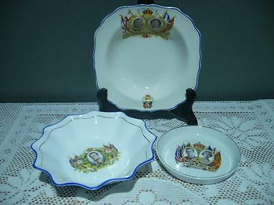 Vintage Lot Of 3 X George Vi Coronation China Dishes - May 12 1937 - Vg Cond