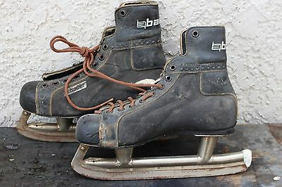 Vintage Bauer Silver Arrow Leather Hockey Ice Skates With Plastic Tip Skating