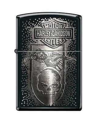 Zippo 8219, Harley Davidson-Skull, Black Matte Finish Lighter