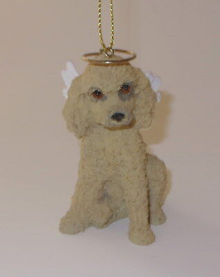 Poodle Christmas Ornament Angel Wings Apricot Dog New Resin