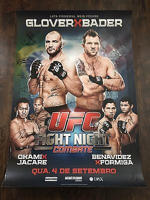 UFC Fight Night Brazil Glover Teixeira vs Ryan Bader Autographed Poster, SBC