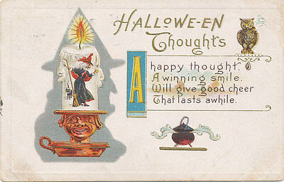 Halloween PC 1920 * Witch in Candle Black Cat Owl * Embossed