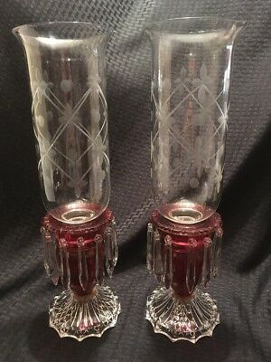 Antique Candle Hurricane Lamps Red And Clear Glass