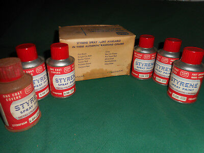Lot of 6 Vintage STYRENE Spray Paint Cans in Box ~ 5 Clear Gloss/1 Flat Aluminum