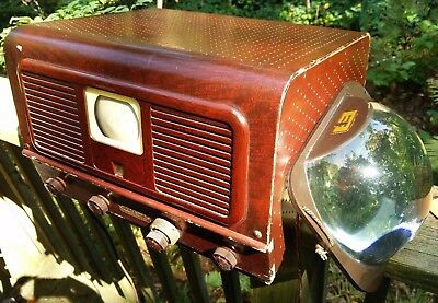 """VINTAGE Pilot TV-37 """"Candid"""" television with RARE magnifier lens 1940s early"""