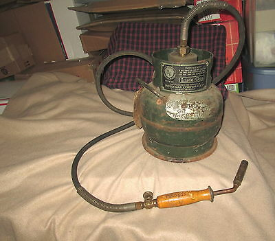 Vintage Antique Insto-gas Tank & Torch Handle w/ Tip Steam Punk Good Condition