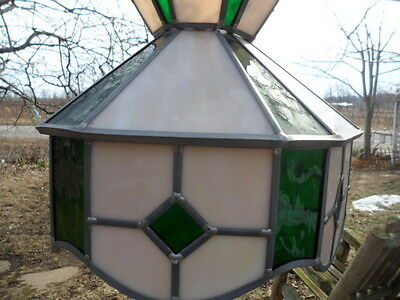 Vintage Leaded Stain Stained Glass Hanging Chain Lamp Light Shade Green Beige