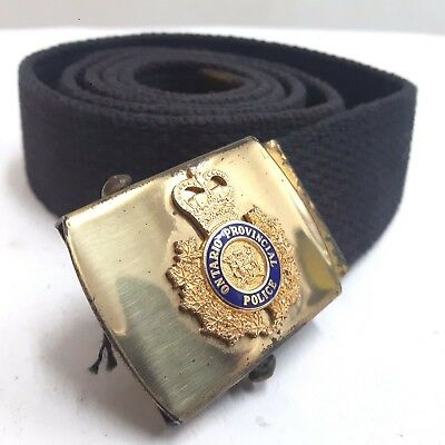 Ontario Provincial Police Fabric Navy Belt With Brass Buckle OPP O.P.P. Military