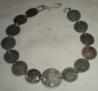 ANTIQUE 1850S UNITED STATES COIN SILVER 3 CENT PIECE BRACELET & LOVE TOKEN vafo